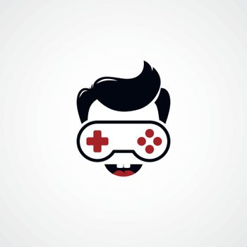 video game freak boy joystick logotype