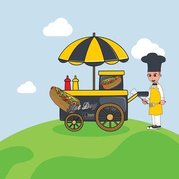 food cart vendor cartoon theme vector art illustration