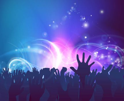 Crowd background of peoples hands up in celebration in silhouette with abstract lights background