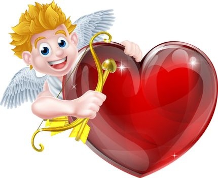 Cupid valentines day angel cartoon with his gold bow and heart arrow in peeking around a big red valentines heart with room on it for a message