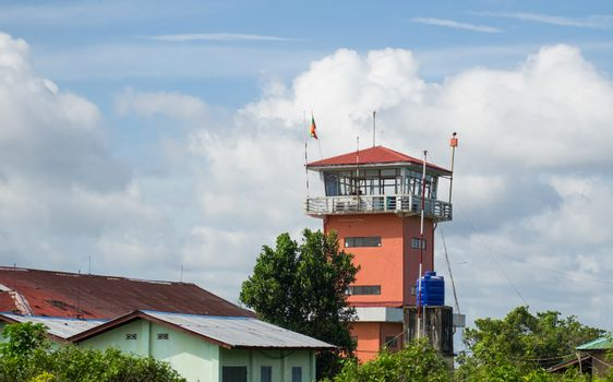 Airport control tower in Myeik, Myanmar