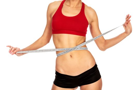 Thin woman with tape measure