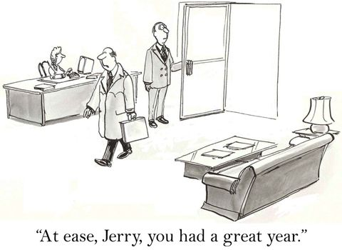 """""""At ease, Jerry, you had a great year."""""""