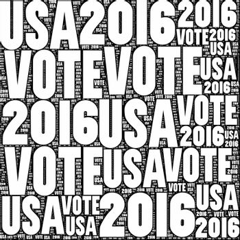 Black and white VOTE USA 2016 sign.
