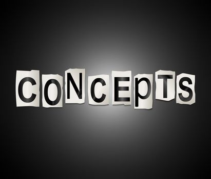 Illustration depicting a set of cut out printed letters arranged to form the word concepts.