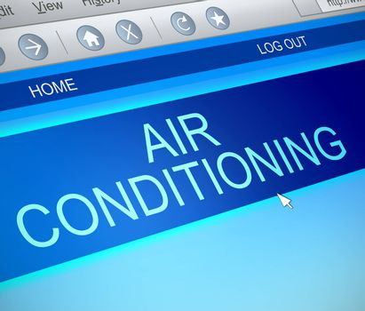 Illustration depicting a computer screen capture with an air conditioning concept.