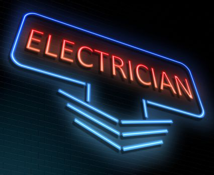 Illustration depicting an illuminated neon sign with an electrician concept.