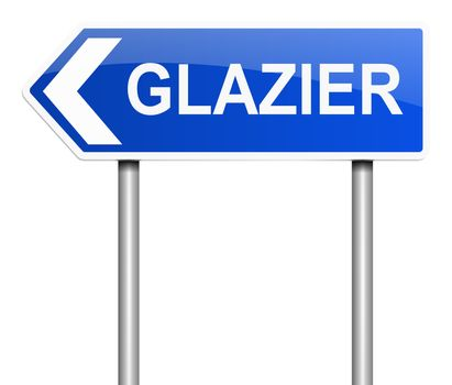 Illustration depicting a sign with a glazier concept.