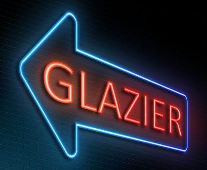 Illustration depicting an illuminated neon sign with a glazier concept.