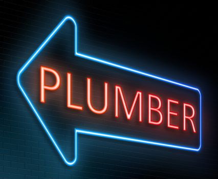 Illustration depicting an illuminated neon sign with a plumber concept.