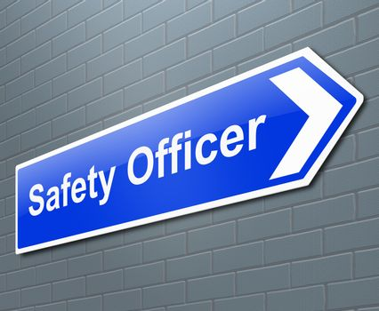 Illustration depicting a sign with a safety officer concept.