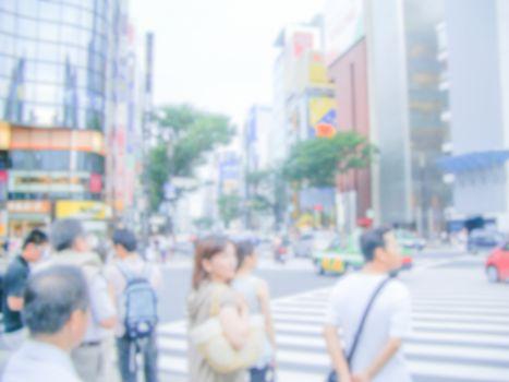 Defocused background of a crossroad in Tokyo, Japan