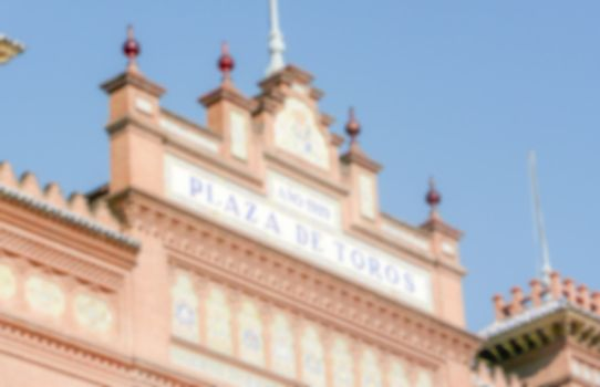 Defocused background of Bullring in Madrid. Intentionally blurre
