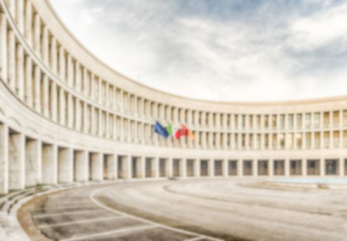 Defocused background of neoclassical architecture in EUR distric