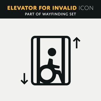 Disability man pictogram flat icon lift