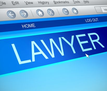 Illustration depicting a computer screen capture with a Lawyer concept.