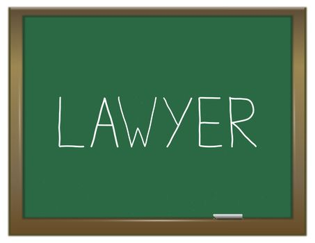Illustration depicting a green chalkboard with a Lawyer concept.