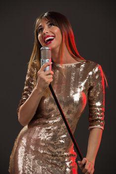 Woman Singer In Sequin Dress