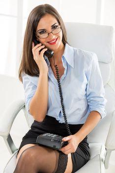 Pretty Businesswoman Phoning