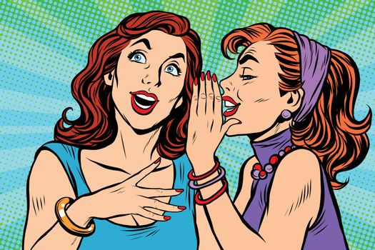 Two girls girlfriends gossiping pop art retro vector. Beautiful women lifestyle