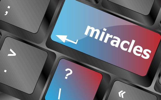 Computer keyboard key button with miracles text . keyboard keys. vector illustration