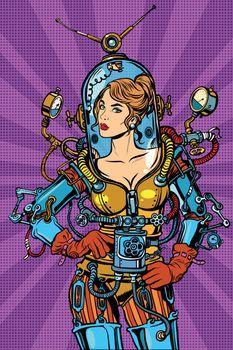 Beautiful futuristic girl in a sexy space suit pop art retro vector. Woman captain astronaut. Science fiction hero female