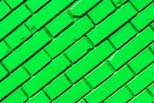 Diagonal green brick wall texture