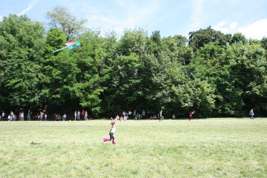 BELGRADE,SERBIA - JUN 11,2016: Kids enjoy in competition of kites flying