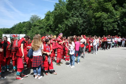 BELGRADE,SERBIA - JUN 11,2016:Young people at the start of city competition of first aid