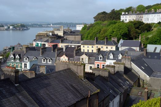 view of cobh town county cork ireland from the catherdral