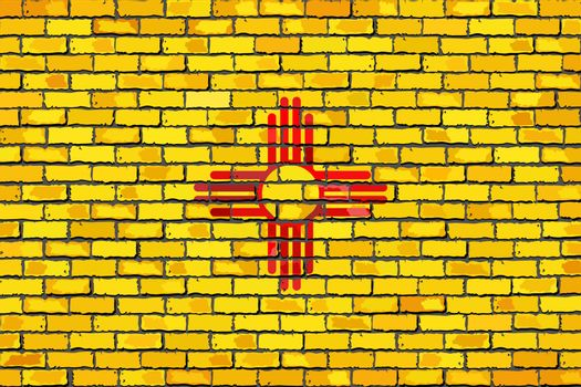Flag of New Mexico on a brick wall