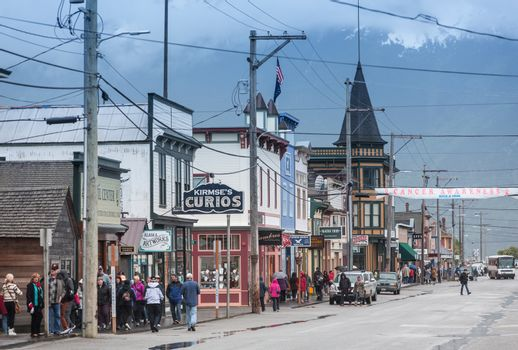 SKAGWAY, AK - MAY 17: Broadway Street on one of the first days of the tourist season on May 17, 2016 in Skagway, AK.