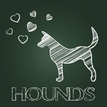 Hound Dog Showing Pet Doggy And Puppy