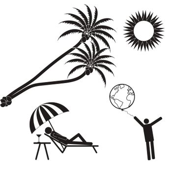 Summer vacation, palm trees, the bright sun. The world in your hands. Stick Figure