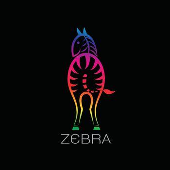 Vector images of zebra on a black background. Zebra Logo, Zebra