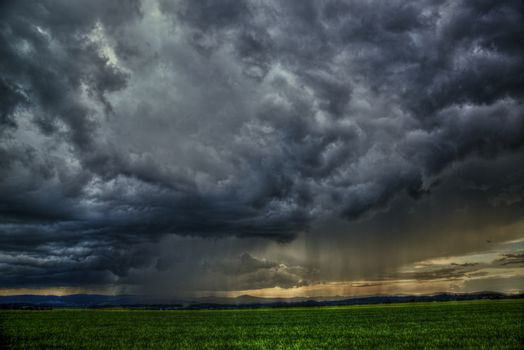 dramatic scene - meadow with clouds and rain