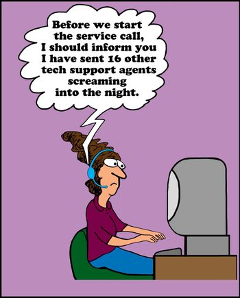 Call center woman with customer.