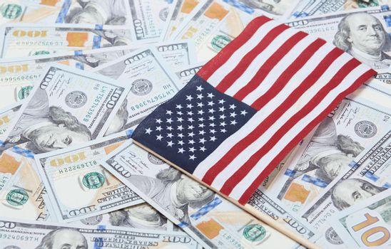 American flag on one hundred dollars banknotes
