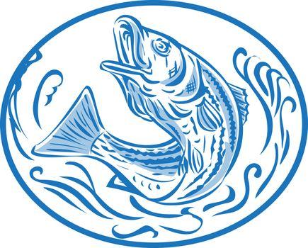 Rockfish Jumping Up Oval Drawing