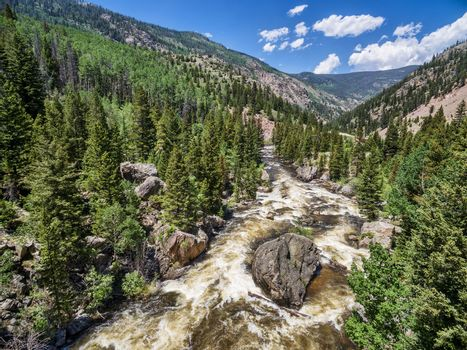 Cache la Poudre River below Poudre Falls - aerial view in early summer with high flow