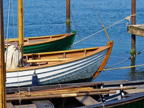Old vintage traditional Danish wooden sail boat in Middelfart Marina Denmark