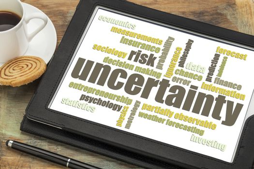 uncertainty and risk word cloud on a digital tablet with a cup of coffee
