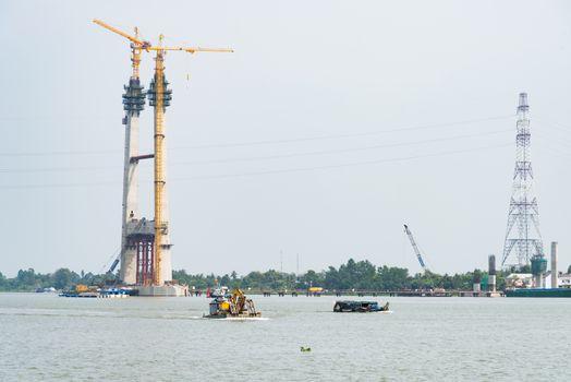Bridge construction at The Mekong Delta