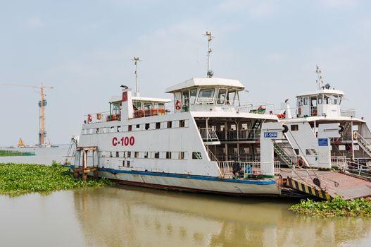 Bridge construction at Mekong Delta