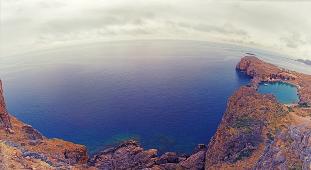 St. Paul's Bay panorama, Rhodes island, Greece. Fisheye lenses effect