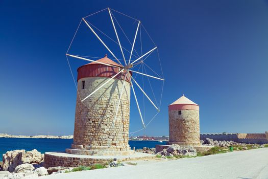 Rhodes windmills, Mandrake Harbour windmills on the Island of Rhodes