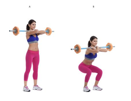 Step by step instructions: Load a barbell and spread your feet so that they're approximately 1 step further apart than shoulder-width. Puff out your chest, tighten your abs, and slowly descend until your thighs are parallel with the floor. (A) Hold for .5 seconds at the bottom and powerfully ascend back up to start. Maintain a flat back and strong posture throughout. (B)
