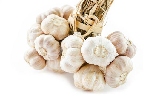Close up bundle of garlic.