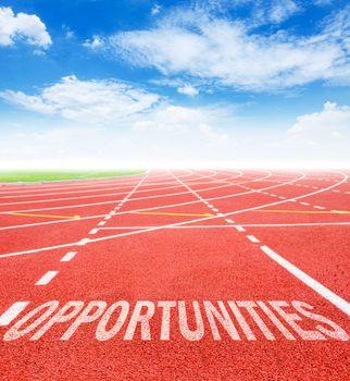 Opportunity written on running track.