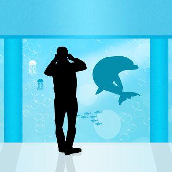 illustration of people in the aquarium
